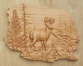 "Deer Wood Wall Art, Wood Wall Decor, Carved Woods Scene, Wildlife Decor, 14 X 11"", Solid Cherry Wood, No Stain, Satin Finish, MADE TO ORDER"