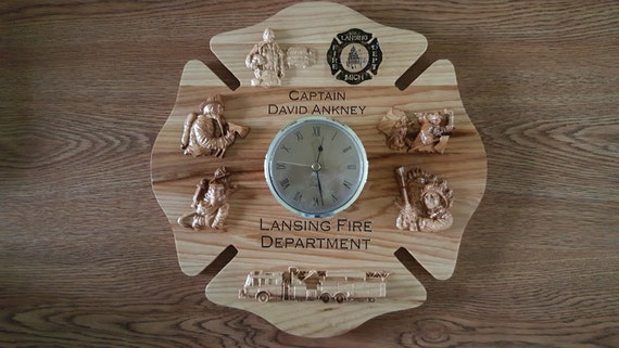 Personalized Firefighter Clocks Firefighter Carved Wood