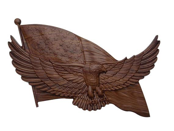 Bald Eagle Hand Carved From Mahogany Wood With Excellent Details As You See