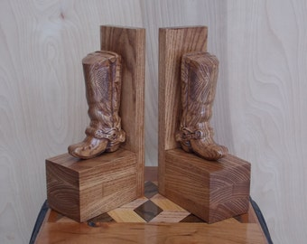 Western Wood Carved Cowboy Boot Bookends ~ Wood Carving Wood Art ~ Wooden Bookends ~ Rustic Western Decor Bookends, Unique Wooden Gifts