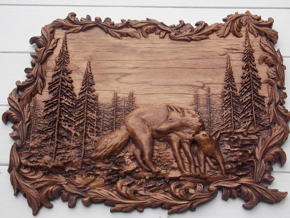 Wolf carving animal wood wall art