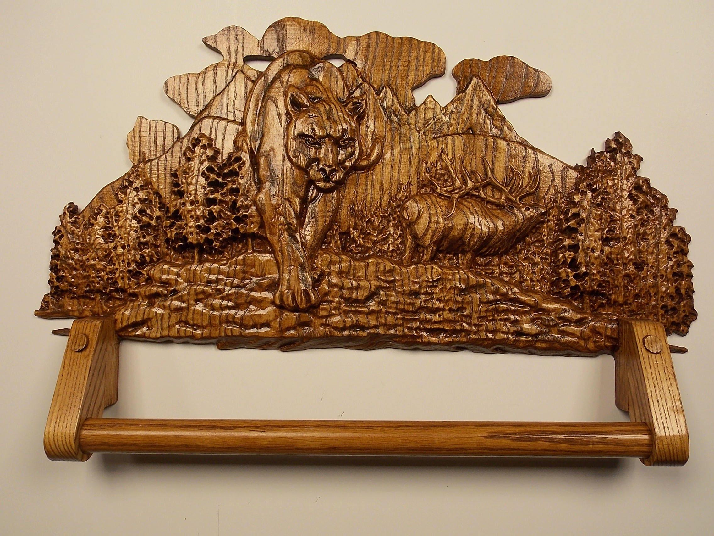 Carved Wood Towel Rack