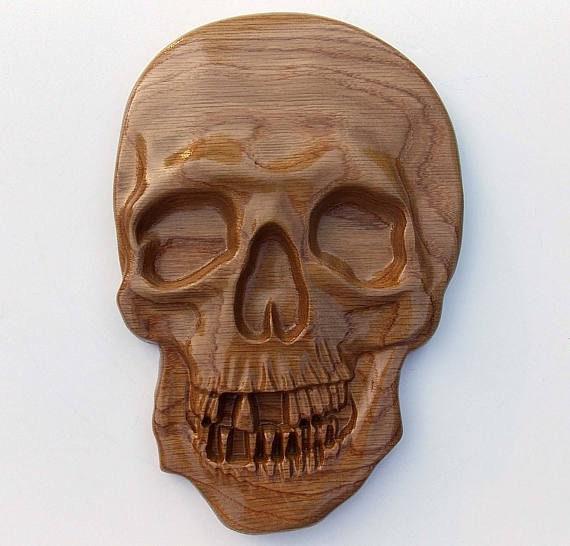 Gothic skull wall decor wooden skull carving size etsy