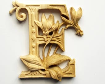 "Wooden Letter E + Erythronium Flower - 10"" x 8"" Tall - Wood Carved Letter E - Wood Letter Wall Decor - Letter E Wood Decor - Wood Carving"