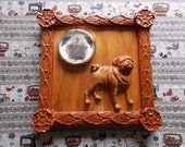 Pug Dog Wood Sculpture Wo...