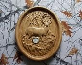 Carved Wood Deer, Whiteta...
