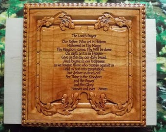 The Lord's Prayer Sign, Bible Verse Wall Hanging, Scripture Plaque Wood Carving, Wood Wall Art Decor, Matthew