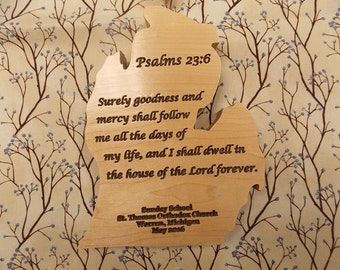 Michigan Shape Wood, Inspirational Bible Verse Sign, Michigan State Upper Peninsula CutOut, Wood State Shape Wall Decor, Sunday School Sign
