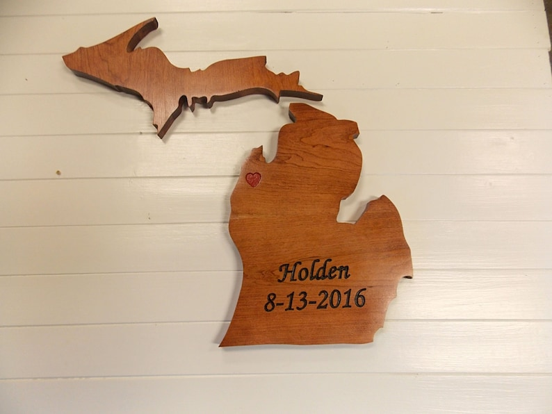Wooden State Cutouts Michigan Wood Cutouts Wooden State Signs Michigan Wedding Guest Book Personalized Wood Carving Rustic Wedding Gift