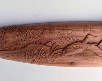 Duck Hunter Carved on Wood, Wood Carving on Rifle Handle, Gift for Duck Hunter, Wood Wall Art, Wall Hanging for the Duck Hunter, Cabin Decor