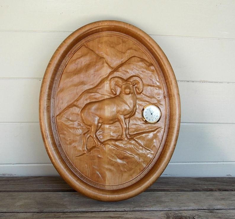 Ram, Carved Wood Ram, Ram Wood Carving, Wood Carved Wildlife Wall Art,  Wildlife Wood Art, 3D Wood Carving, CNC Wood Carving, Wall Clock Ram