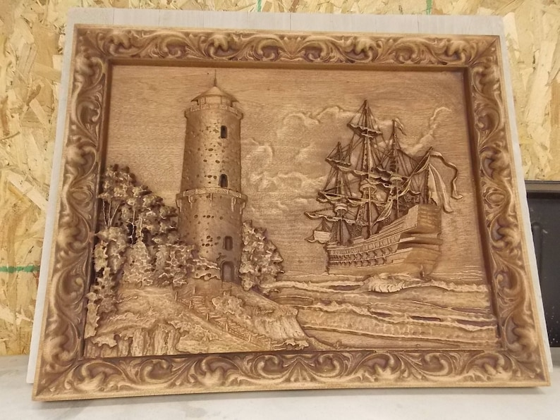 Old Sailing Ship Wood Carving Nautical Wall Decor Lighthouse
