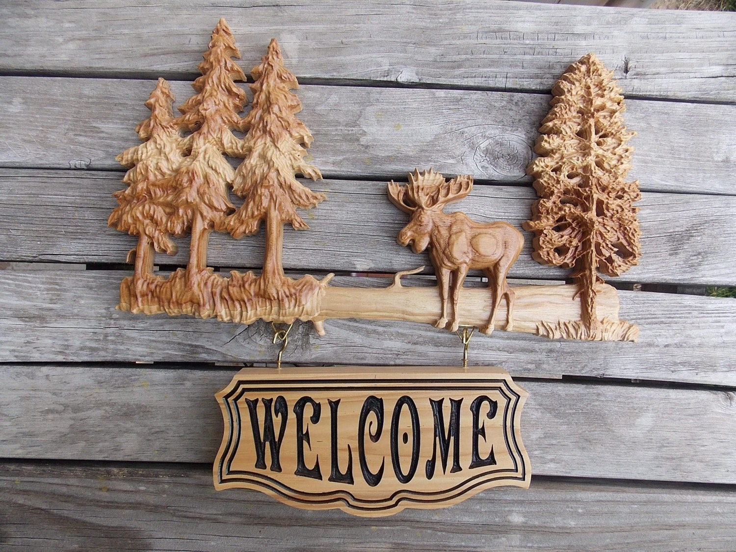 Moose Decor Welcome Sign Wood Carving Rustic Cabin Wooden Etsy