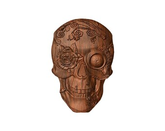 Skull with Roses, Gothic Skull Decor, Skull Decor, Halloween Skull Decor, Wood Carving, This is an EXAMPLE of a Made-to-Order Skull