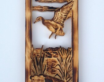 Duck Hunting Gifts, Duck Hunting Decor, Duck Wood Carving, Rustic Wall Decor, Carved Wall Panel, Duck Wood Wall Art Decor, Wood Anniversary