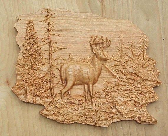 Home Decor Deer Scene Personalized Custom Carved Cedar Wood Sign Rustic