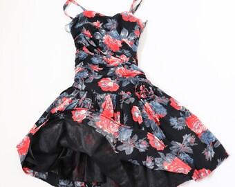 Vintage 1980s Corset Prom Dress  - Elasticated Back - Strapless - S / UK 10
