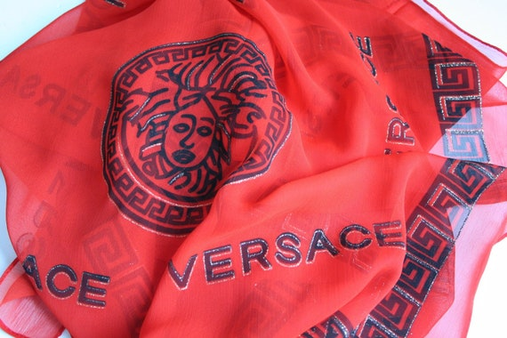 Versace Medusa Head vintage chiffon silk scarf - L