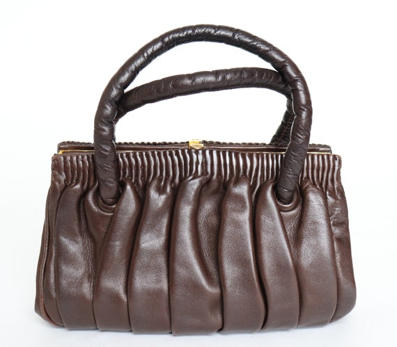 Vintage Handbag 1950s 1960s Leather Top Handle St