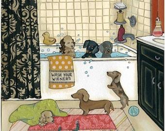 Wash Your Wieners, dachshund wall art