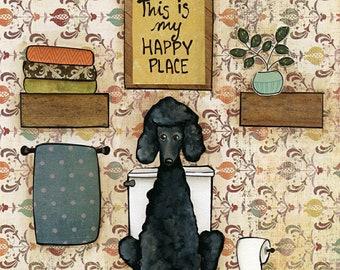 Happy Place Poodle, art print