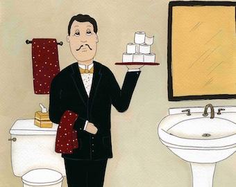 Bathroom Buttler, art print