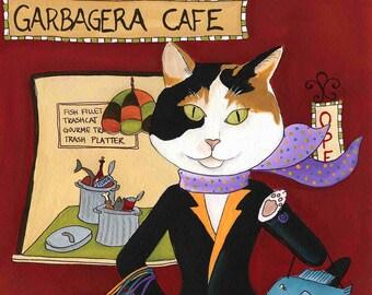 Garbagera Cafe, cat art print