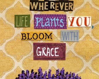 Bloom With Grace, lavender art print