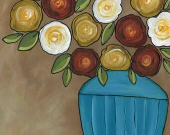 Chocolate Roses, flower art print