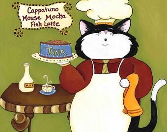 Cappatuno, cat kitchen art print