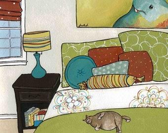 Good Nap on a Full Belly, cat bird art print