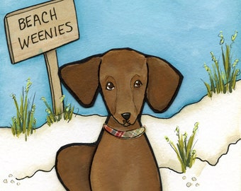 Beach Weenies #2, dachshund dog art print