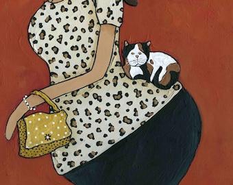 Catwalk, cat art print