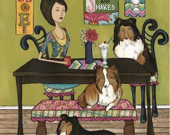 Shelties and Shakes, lassie dog, kitchen milkshake dog art print, wall art painting, ice cream, Christmas dog ornaments, shetland sheepdog