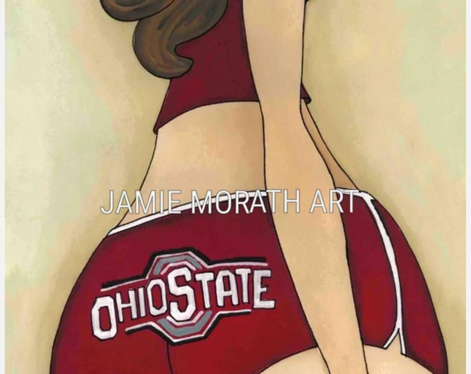 OSU, The Ohio State University, wall art print, Ohio state, women's shorts in red, Buckeye's, The Big ten, OSU logo, scarlet and great