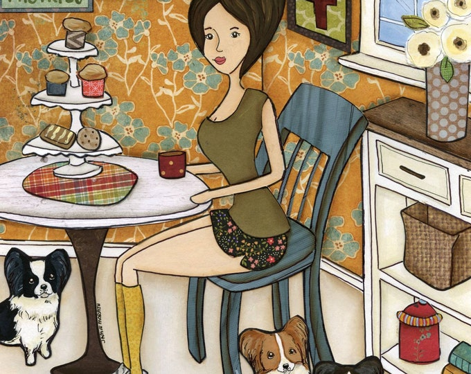 Papillon Pastries, Papillon kitchen dog art print