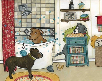 Wash Your Pits, brindle, brown, grey blue Pitbull dog art prints, Pitbull dogs taking a bath in bathroom, ornament available