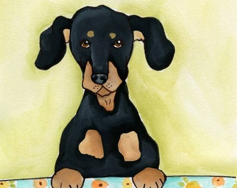 Give Me a Bite ~ If you give me a bite I won't pee in the house the next time it rains. Dachshund dog art prints