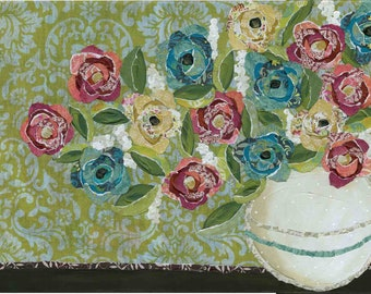 Ball of Flowers, mixed media fabric art print