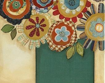 Follow Your Dreams, mixed media flower art print