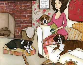Love of a Boxer, boxer dog art print