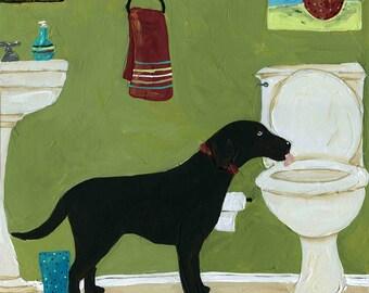 Just One Lick, Labrador retriever dog art print