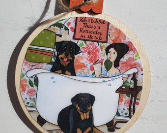 Rottweiler in the Tub ornaments