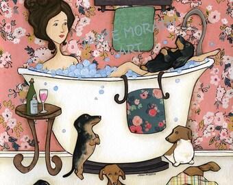 Wiener Wash, Lady in bathtub, wiener dogs in bathroom, Pink flowered wall, Bath time with weenie dogs