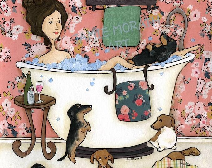 Featured listing image: Wiener Wash, dachshund dog are print, doxie bath