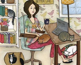 I work hard so my cats can have a better life. Crazy cat lady working at desk with her kittens and coffee