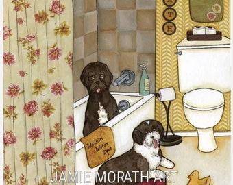 Washin Water Dogs, Portuguese water dog art print, water dog taking bath, floral pink shower curtain, home decor wall art, dog ornament