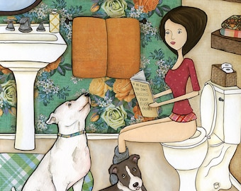 No Pit Sniffing, lady sitting on toilet with white pitbull and grey blue pitbull terrier dogs, funny potty humor dog art print