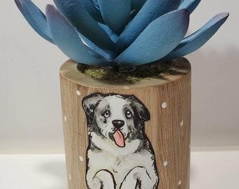 Aussie dog wooden planter with artificial succulent