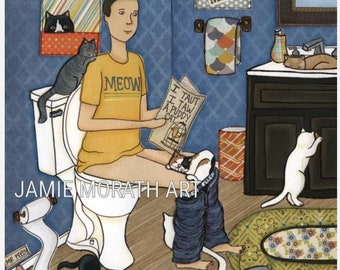 Puddy Cat, man on toilet reading paper with cats in bathroom funny wall art print, cat Christmas ornament, bathroom rug, blue pattern paper